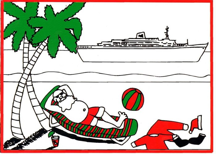 Santa Greeting Card featuring the painting Santa On Vacation by Genevieve Esson