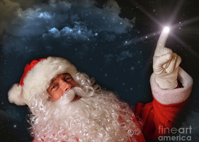Advertising Space Greeting Card featuring the photograph Santa Pointing With Magical Light To The Sky by Sandra Cunningham