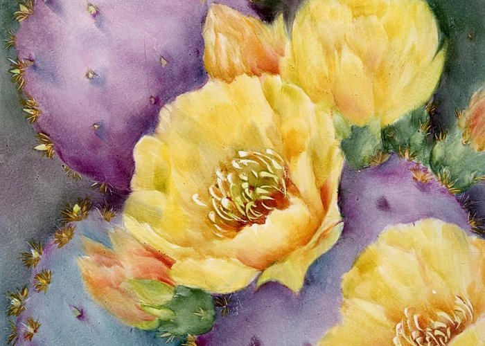 Southwest Greeting Card featuring the painting Santa Rita In Bloom by Summer Celeste
