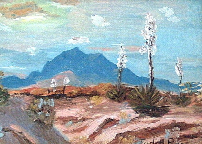 Greeting Card featuring the mixed media Santa Rita Mts. Near Tucson Arizona by Judi Pence