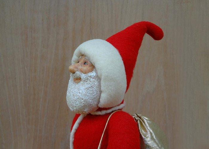 Santa Claus Greeting Card featuring the sculpture Santa Sr. - Keeping The Faith by David Wiles
