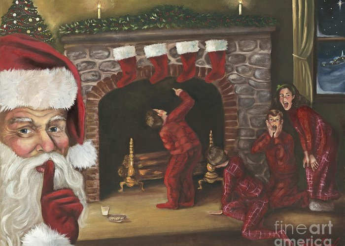 Christmas Greeting Card featuring the painting Santa Surprise by Kimberly Daniel