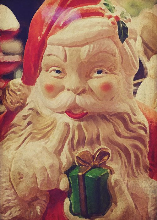Santa Greeting Card featuring the photograph Santa Whispers Vintage by Toni Hopper