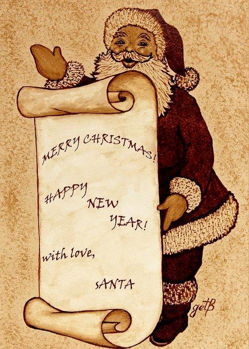 Santa Claus Greeting Card featuring the painting Santa Wishes Digital Art by Georgeta Blanaru