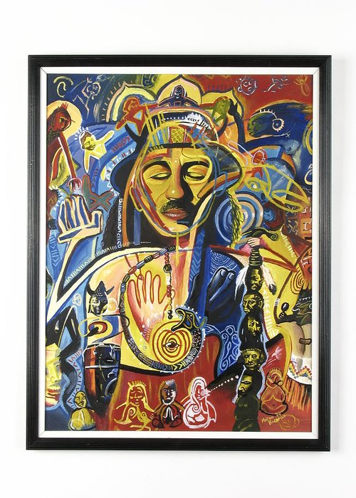 Music Art Greeting Card featuring the drawing Santana Album Cover by Anton Bachman