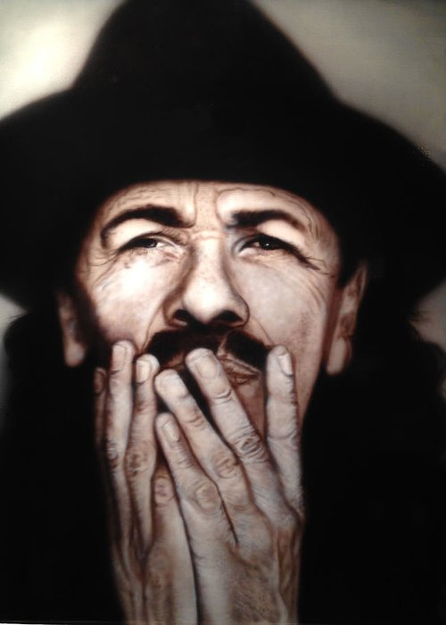 Airbrushed Portrait Greeting Card featuring the painting Santana by Grant Kosh