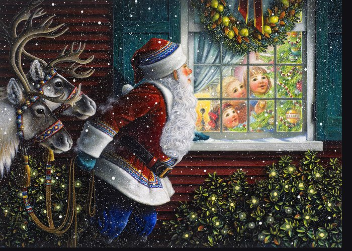 Santa Claus Greeting Card featuring the painting Santa's At The Window by Lynn Bywaters