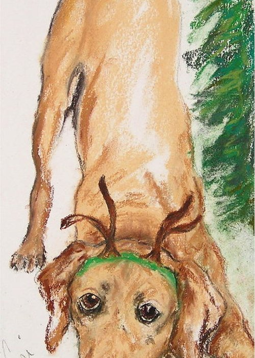 Labrador Greeting Card featuring the drawing Santa's Helper by Cori Solomon