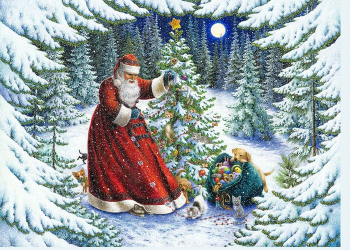 Santa Claus Greeting Card featuring the painting Santa's Little Helpers by Lynn Bywaters