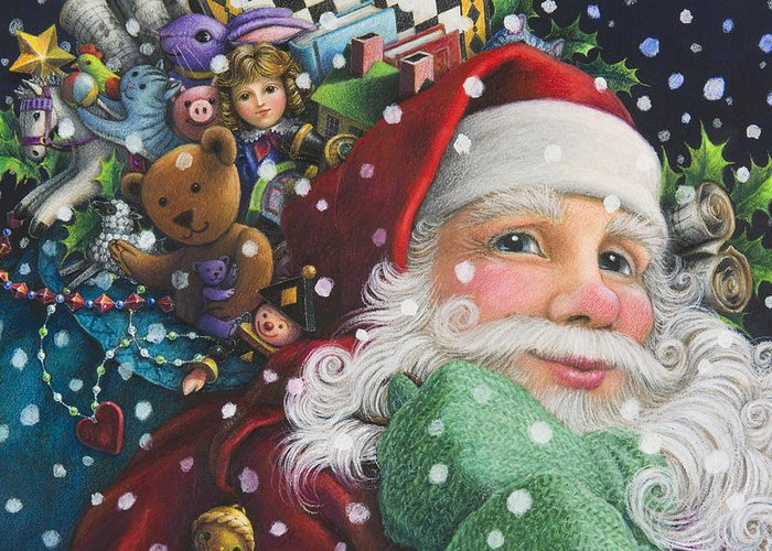 Santa Claus Greeting Card featuring the painting Santa's Toys by Lynn Bywaters