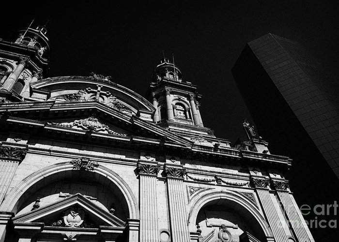 Santiago Greeting Card featuring the photograph Santiago Metropolitan Cathedral Next To Modern Glass Clad Office Block Chile by Joe Fox