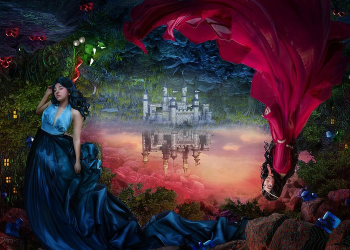 Fantasy Greeting Card featuring the digital art Sapphire by Cassiopeia Art