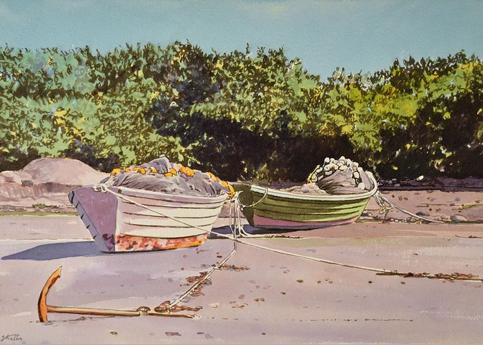 Dory Greeting Card featuring the painting Sardine Dories On The Beach by Thomas Stratton