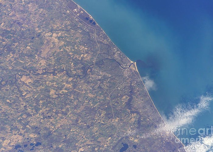 Michigan Greeting Card featuring the photograph Satellite View Of St. Joseph Area by Stocktrek Images