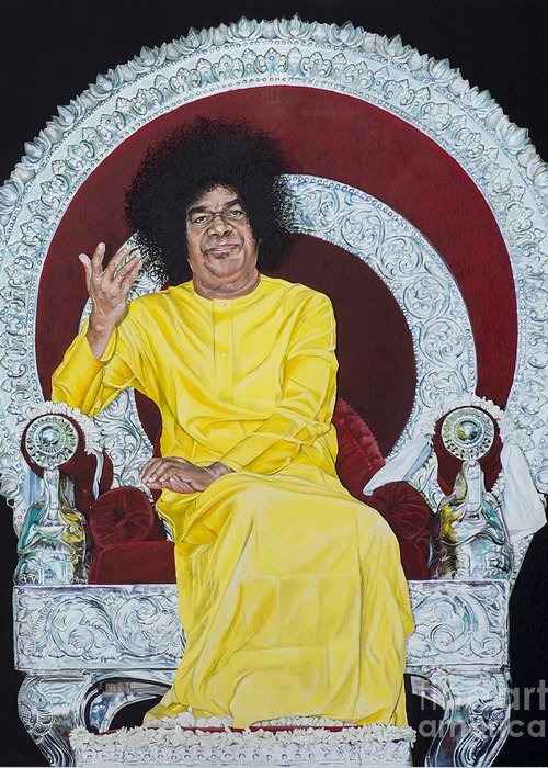 Sathya sai baba greeting card for sale by tim gainey swami greeting card featuring the painting sathya sai baba by tim gainey m4hsunfo