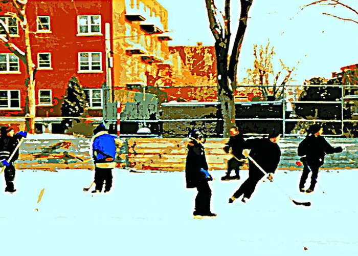 Montreal Greeting Card featuring the painting Saturday Afternoon Hockey Practice At The Neighborhood Rink Montreal Winter City Scene by Carole Spandau