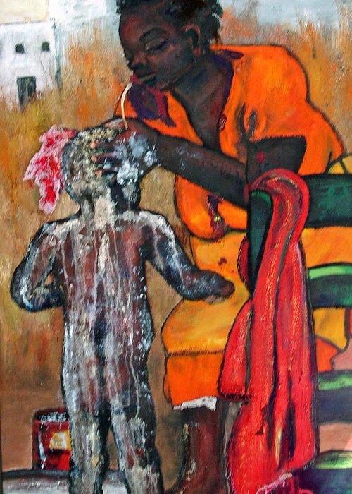 Mom Bathing Boy Greeting Card featuring the painting Saturday Night Bath by Peggy Blood