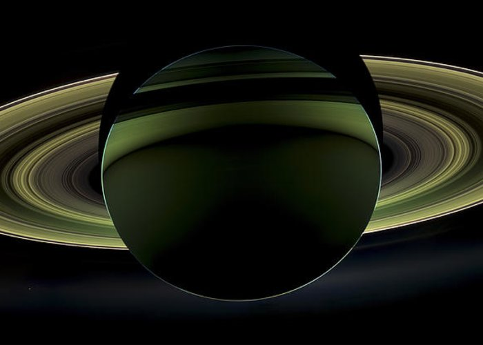 3scape Photos Greeting Card featuring the photograph Saturns Glowing Rings by Adam Romanowicz