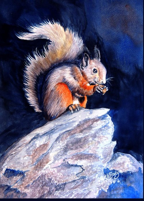 Squirrel Greeting Card featuring the painting Saucy Squirrel by Ruth Bodycott