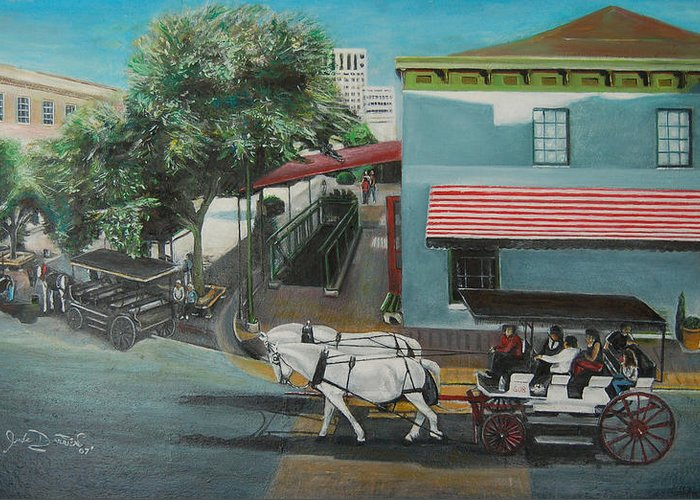 Greeting Card featuring the painting Savannah City Market by Jude Darrien