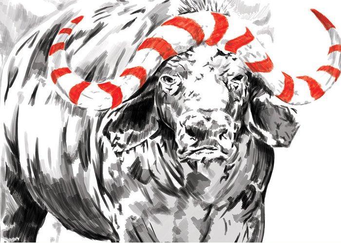 Water Buffalo Greeting Card featuring the digital art Savannah Greetings Buffalo by Silas Amunga