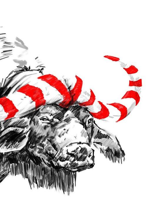 Water Buffalo Greeting Card featuring the digital art Savannah Greetings Buffalocoal Crop 1 by Silas Amunga