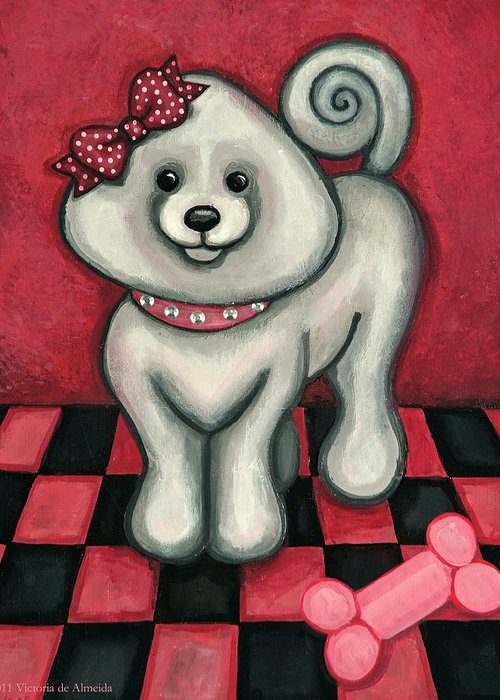 Poodle Greeting Card featuring the painting Savannah Smiles by Victoria De Almeida
