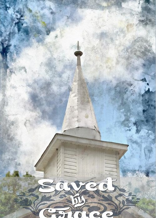 Jesus Greeting Card featuring the digital art Saved By Grace by Michelle Greene Wheeler