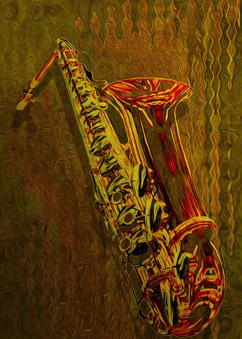Saxophone Greeting Card featuring the painting Sax by Jack Zulli