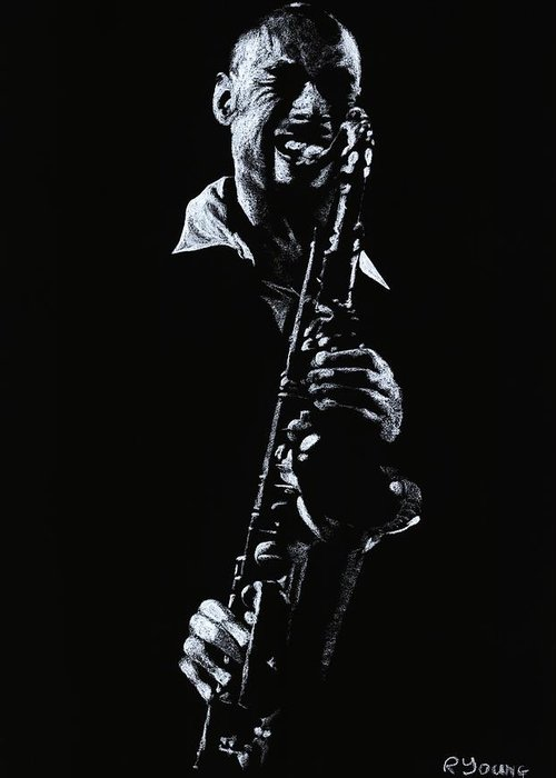 Musician Greeting Card featuring the drawing Sax Player by Richard Young