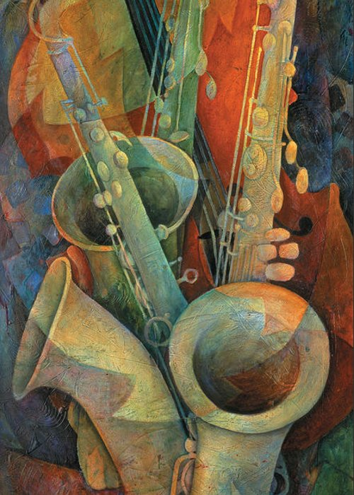 Susanne Clark Greeting Card featuring the painting Saxophones And Bass by Susanne Clark