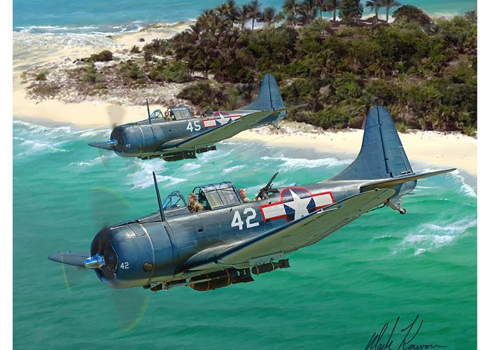 Aviation Greeting Card featuring the painting Sbd Dauntless by Mark Karvon