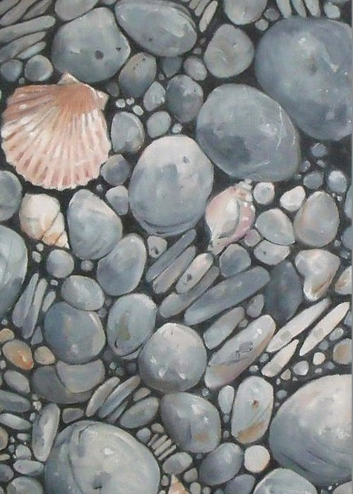 Doodlefly Greeting Card featuring the painting Scallop Shell And Black Stones by Mary Hubley