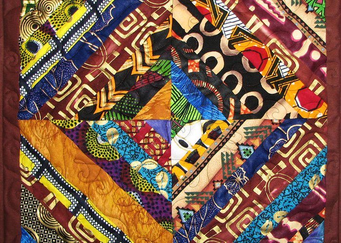 Art Quilt Greeting Card featuring the tapestry - textile Scandalous by Aisha Lumumba