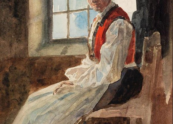 Scandinavia Greeting Card featuring the painting Scandinavian Peasant Woman In An Interior by Alexandre Lunois