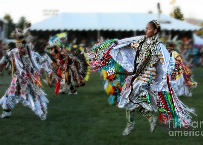 Native American Greeting Card featuring the photograph Scarf Fancy Dancer by Scarlett Images Photography