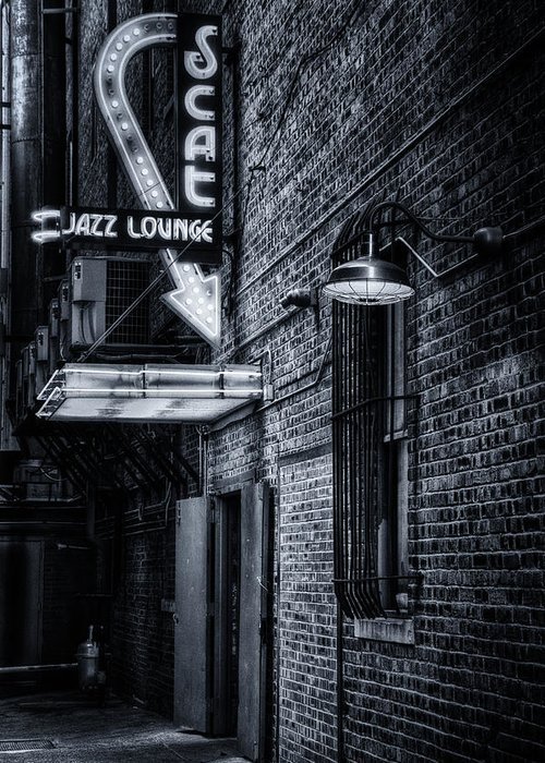 Scat Lounge Greeting Card featuring the photograph Scat Lounge In Cool Black And White by Joan Carroll