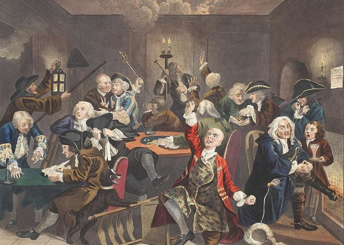 Gambling Den Greeting Card featuring the drawing Scene In A Gaming House, Plate Vi by William Hogarth