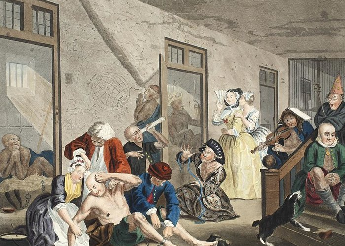 Interior Greeting Card featuring the drawing Scene In Bedlam, Plate Viii, From A by William Hogarth