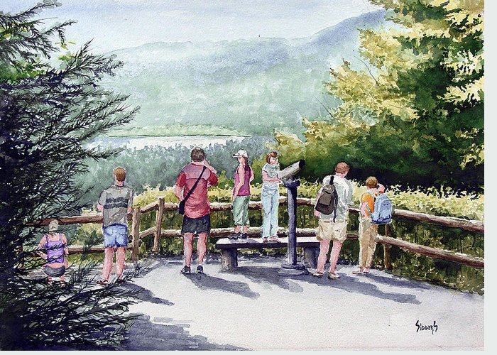People Greeting Card featuring the painting Scenic Overlook by Sam Sidders