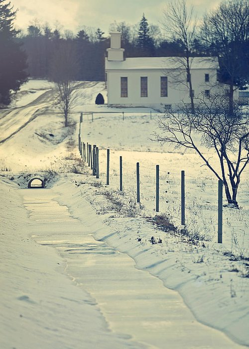 Snow Greeting Card featuring the photograph Scenic Sunday Little White Church by Carrie Ann Grippo-Pike