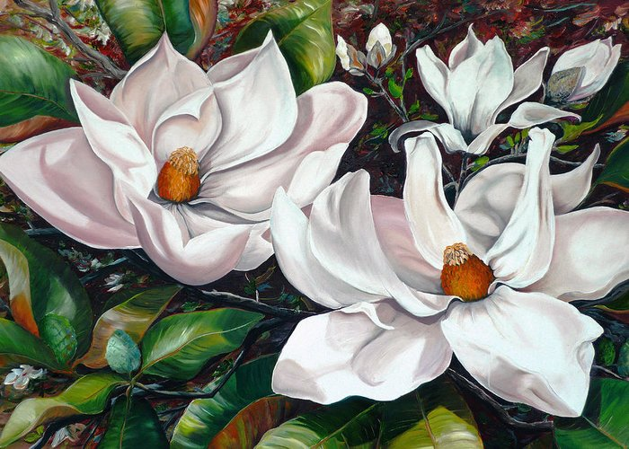 Magnolia Painting Flower Painting Botanical Painting Floral Painting Botanical Bloom Magnolia Flower White Flower Greeting Card Painting Greeting Card featuring the painting Scent Of The South. by Karin Dawn Kelshall- Best