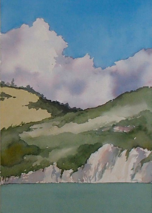 Shell Beach Greeting Card featuring the painting Shell Beach Cliffs by Philip Fleischer