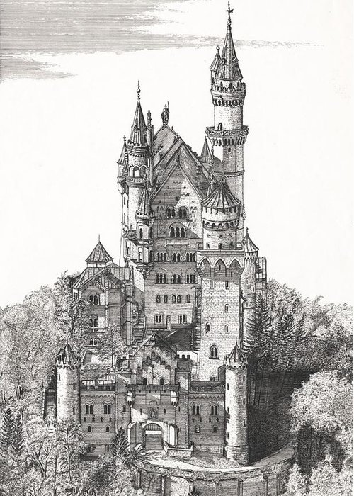 The Castle Greeting Card featuring the drawing Schloss Neuschwanstein by John Simlett