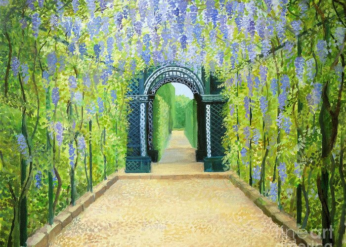 Alley Greeting Card featuring the painting Schoenbrunn In Vienna The Palace Gardens by Kiril Stanchev