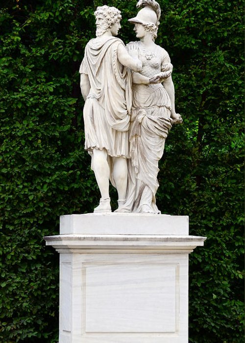 Abstract Greeting Card featuring the photograph Schonbrunn Palace In Vienna Austria - Garden Statue Detail by Aleksandar Mijatovic