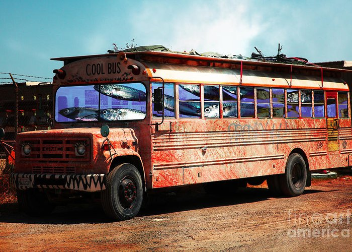 Wingsdomain Greeting Card featuring the photograph School Bus 5d24927 by Wingsdomain Art and Photography