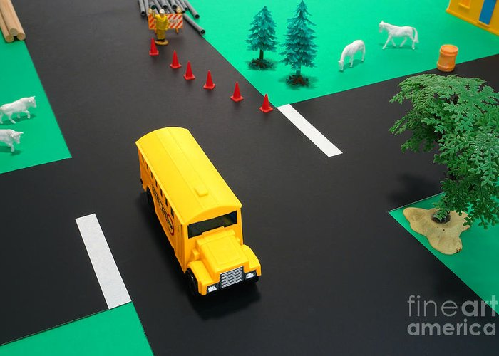 School Greeting Card featuring the photograph School Bus School by Olivier Le Queinec