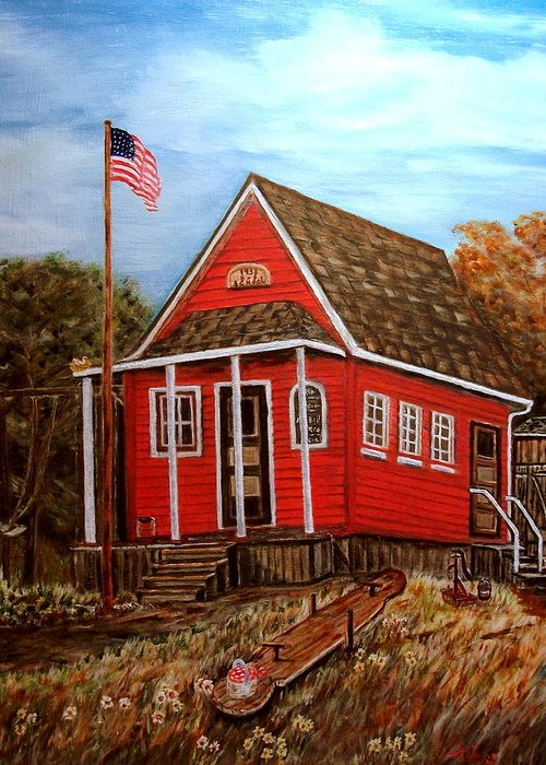 Landscape Greeting Card featuring the painting School House by Kenneth LePoidevin