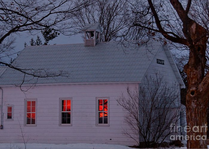 Sunset Sky Greeting Card featuring the photograph School House Sunset by Cheryl Baxter